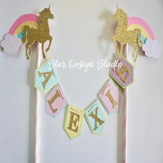 Unicorn Cake topper One  Pastels and Gold  by stardesignstudio