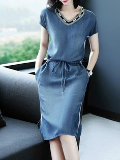 Denim Dress Women Short Sleeve Dress Spring Vintage Vestidos Robe Casual  Slim V-neck Office Shirt Jeans Dress 4a9c82ef3b32