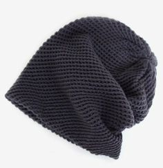 Crosshatch Knit Beanie in Charcoal $20