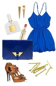 date night outfit, cute royal blue dress, tan heels, navy clutch with gold trim