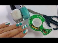 5 diseños de uñas FÁCILES con cinta adhesiva - YouTube