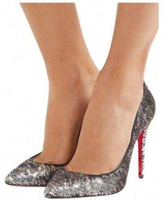 6c7a3f36579 Christian Louboutin Silver Pigalle Follies 100 Sequin Muilti Pumps Size EU  37.5 (Approx. US
