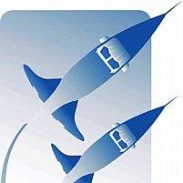 Illustration of three rockets in air