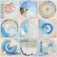 """Ellen Heck's fantastic abstract """"San Francisco Color Wheels- Glacial,"""" 2014 Mixed media on panel, inches at Wally Workman Gallery in Austin, Texas. Color Wheel Projects, Divergent Thinking, 7 Arts, Medicine Wheel, Color Studies, Color Patterns, Color Charts, Art Plastique, Color Theory"""