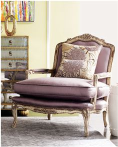Fauteuil, meaning armchair, specifically means an upholstered armchair WITH OPEN SIDES - Bergeres have CLOSED SIDES.  It was developed in the France during the late 1600's.  The style evolved and became lighter and more ornate.    A Beautiful Monday | Champagne & Macarons Blog