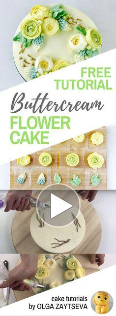 HOT CAKE TRENDS How to make Ranunculus Buttercream flower wreath cake - Cake decorating tutorial by Olga Zaytseva. Learn how to pipe Ranunculus and Roses and assemble a buttercream flower wreath cake. #cakedecoratingtips #cakedecoratingtechniques