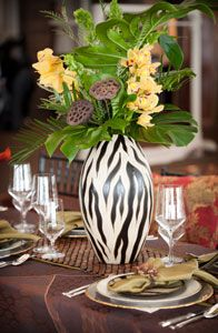 EFD Creative - Event Planning & Design was recently featured on Style Me Pretty. The Safari theme wedding was inspired by earth tones, textures and animal Animal Print Wedding, Safari Wedding, Safari Party, Safari Theme, Zebra Wedding, Jungle Party, Jungle Theme, Decoration Table, Table Centerpieces