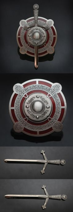 Antique Silver/Red Celtic Sword & Shield Geocoin (pics from Ebay combined & pinned to Geocaching Geocoins - https://www.pinterest.com/ibgeocaching/geocaching-geocoins/) #IBGCp