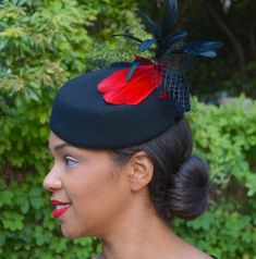 87d5a71e662 Black Wool Pill Box Hat With Red Feathers by GeauxChapeauxHats Velvet Hat