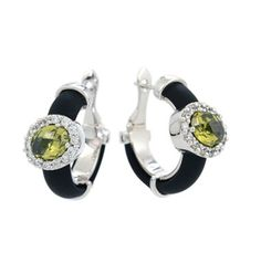 Diana Black Olive/ White Earrings by Belle Etoile. Sterling Silver. Fashion Jewelry.