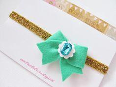 Baby/Girls Felt Bow Headband-Green Felt Bow Gold Glitter Headband, Felt Bow with Jewel, St Patrick's Day Headband