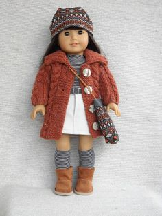 American Girl Doll Clothes 7 piece outfit by Frenchieandme,  I love the colors, textures, stripes!