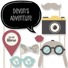 World Awaits  Photo Booth Props - Party Photobooth Kit with Custom Talk Bubble- set of 20
