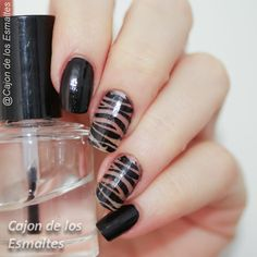 Negative space and animal print nail art