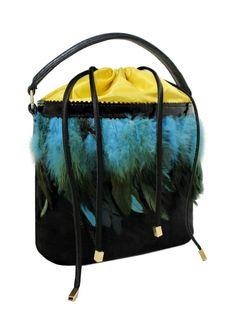 Skórzana torebka do ręki i na ramię z piórami - GOSHICO