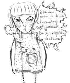 Sad girl with teddy bear  | Design: www.pinkelephant.pl /layout /portfolio /design /sketch /girl /bear
