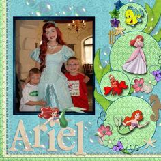 Ariel - The Little Mermaid Disney Scrapbook Inspiration. Paper Bag Scrapbook, Disney Scrapbook Pages, Scrapbook Titles, Scrapbook Sketches, Scrapbook Page Layouts, Scrapbook Cards, Scrapbooking Ideas, Frozen Scrapbook, Kids Scrapbook