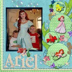 Ariel - The Little Mermaid Disney Scrapbook Inspiration. Paper Bag Scrapbook, Vacation Scrapbook, Disney Scrapbook Pages, Scrapbook Titles, Scrapbook Sketches, Scrapbook Page Layouts, Scrapbook Cards, Scrapbooking Ideas, Frozen Scrapbook