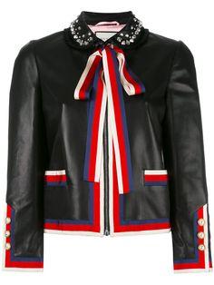 Gucci Fashion, Fashion Outfits, Womens Fashion, Gucci Leather Jacket, Estilo Navy, Gucci Dress, Gucci Gucci, Designer Leather Jackets, Casual Day Dresses