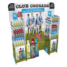 Lucozade Club Crusade FSDU uses a clever modular design for a Free Standing Display Unit to promote product instore. *** Design, Print and Build by The Printed Image Ireland **** http://www.tpi.ie