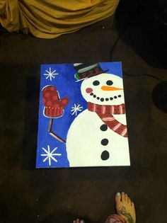 DIY winter painted canvas