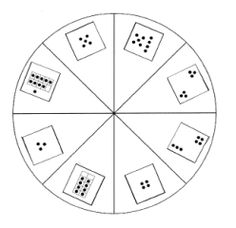 A dot card spinner (with numbers 3-10) for generating numbers in kindergarten, 1 st grade, or 2nd grade math activities/stations.