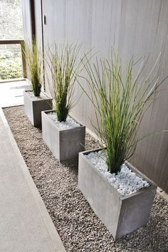 Modern decorative grass in concrete planters in mid-century modern breezeway A beautiful front yard is the calling card of your house. With our ideas, your front garden will also become the inviting flagship of your home, where visitors like to pause fo Modern Front Yard, Modern Porch, Front Garden Landscape, Landscape Rake, House Landscape, Landscape Paintings, Palm Springs Style, Modern Landscape Design, Modern Backyard Design