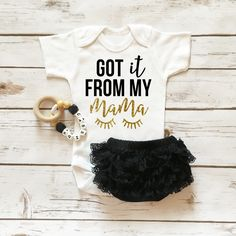 Got It From My Mama Onesie Sparkle Baby Girl Outfit with Ruffle Bottom Lace Bloomers | Baby Girl Clothes | Browse the entire collection at www.shopcassidyscloset.com