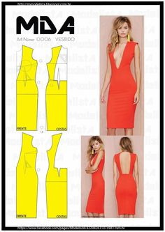 Free sewing pattern for a backless bodycon shift dress. More free sewing patterns at http://www.sewinlove.com.au/free-sewing-patterns/