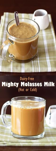 Dairy-Free Mighty Molasses Milk (Hot or Cold) Mighty Molasses Milk! Enjoy hot (better than hot chocolate!) or cold (delicious in smoothies, too! Three easy recipes in one, all dairy-free, soy-free & vegan yet rich in calcium! Smoothies Vegan, Smoothie Recipes, Chocolate Smoothies, Smoothie Drinks, Drink Recipes, Dinner Recipes, Vegan Sweets, Vegan Desserts, Yummy Drinks
