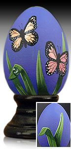 Butterflies - hand painted wooden egg by The Egg Man Alan Traynor