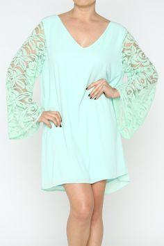 EVERY COLOR PLEASE! Mint Lace Sleeve Dress - #blondellamydean #plussizefashion #plussize #curves