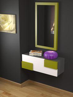 Recibidor a medida moderno, acabado lacado, color a elegir y estructura en chapa de madera natural, en este caso gris ceniza onlinemuebles.com