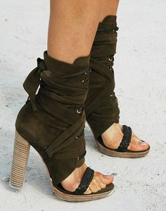 everything i love: chunky heel, suede tie up, boot sandal effect