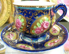 NIPPON COBALT BLUE FLOWERY VICTORIAN'S TEA CUP AND SAUCER DUO ROSES