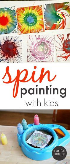 Spin painting is a favorite kids art activity that can be done with a salad spinner or with a kids spin art machine. A comparison of the two methods plus ideas for what to do with all the spin art.