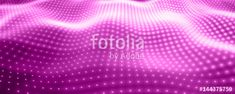 Вектор: Abstract vector background with violet neon lights forming wavy surface. Neon cyber surface flow. Smooth violet cyber relief from glowing particles. Elegant modern backdrop.