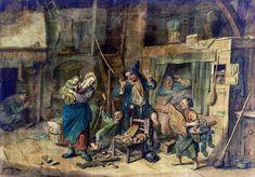 Sinterklaas op het platteland in de 17de eeuw, met voornamelijk eetwaren als cadeautjes. Op de grond een sok met een roe. Aquarel Cornelis Dusart