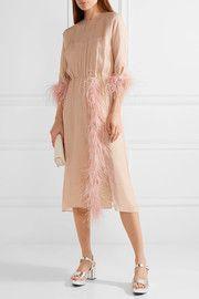 Feather-trimmed silk-georgette midi dress