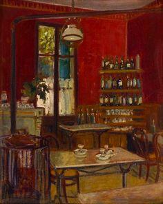 Grant Wood (American - Café de Palais, Oil on board. Grant Wood, Art Grants, Art Fund, American Gothic, Art Auction, Art Techniques, American Artists, Art World, Painting & Drawing