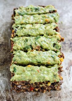 A meatless black bean 'meatloaf' packed with spices, cilantro, corn and topped with the creamiest 3-ingredient sauce. #vegan #glutenfree #cleaneating