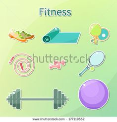 Vector. Fitness icon set . Wellness. Cute bright pictures.