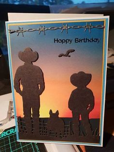 From Facebook Cowboy Theme, Western Theme, Western Cowboy, Boy Cards, Men's Cards, Australian Christmas Cards, Birthday Wishes, Birthday Cards, Punch