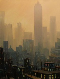 City Haze Painting by Tom Shropshire New York Painting, City Painting, List Of Paintings, Paintings For Sale, Acrylic Paintings, Oil Paintings, Ghost City, Building Painting, Abandoned Cities
