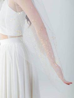Gold Mica Flake Veil  Ivory Wedding Veil  Single Tier Veil