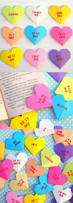 Here's an easy way to fold and decorate origami paper bookmarks to look just like those adorable and iconic Valentine's Day conversation heart candies! This Valentine's Day kids craft is so fun! Simple and great for both boys and girls. Give these as gifts to friends - perfect for the classroom!