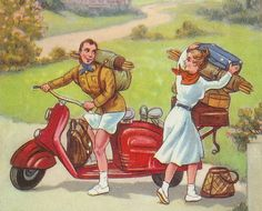 Scooter Camping Couple Postcard Detail | Flickr - Photo Sharing!