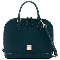 Dooney & Bourke Pebble Zip Zip Satchel ($198) ❤ liked on Polyvore featuring bags, handbags, handbag satchel, satchel purses, dome satchel purses, pebbled-leather handbags and dome handbag