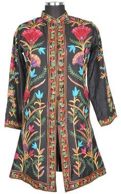 100% Silk Black Kashmir Long Jacket Fine Embroidery Party Coat Sherwani  ID15023 #JaipurCreations #BasicJacket