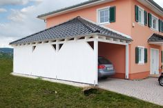carport mit walmdach angepasst an ihr haus mit dachziegeln regenrinne und farbe finden sie inkl